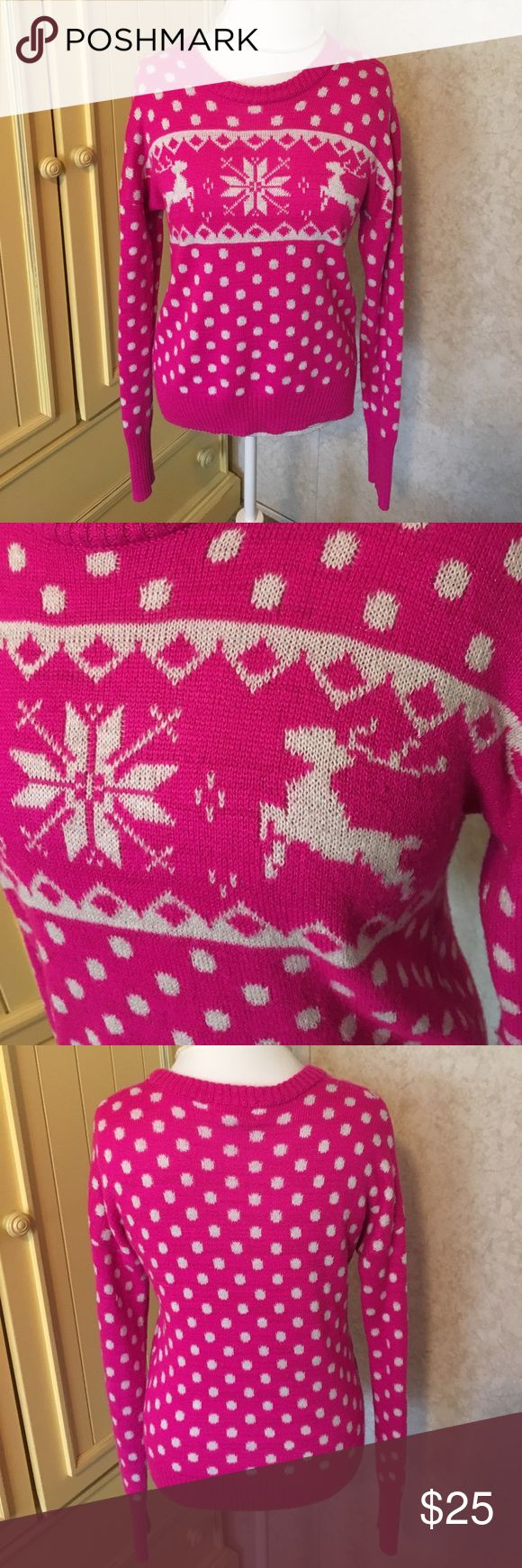 Pink and White Reindeer Sweater Pink and white reindeer sweater. Size XL. In great condition other than a little pilling on bottom of sleeve as pictured. Sweaters
