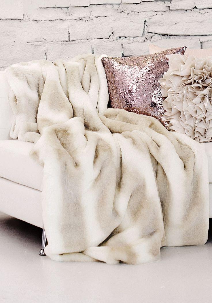 InStyle Decor Luxury Fashion Designer Faux Fur Throws Blankets Pillows