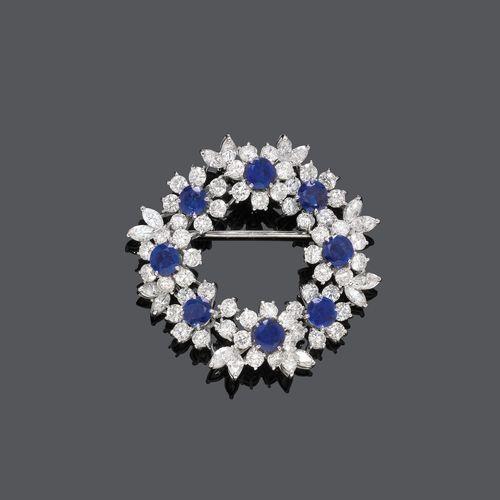 SAPPHIRE AND DIAMOND BROOCH,  ca. 1950. #DiamondBrooches
