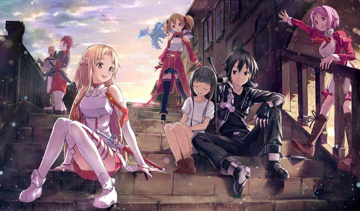 Аниме Sword Art Online  Silica Agil Kirito Asuna Yuuki Lisbeth Klein Yui Обои
