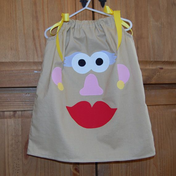 Mrs. Potato Head Pillowcase Dress, 6m-5T, 6, 7, 8. Perfect for Toy Story themed parties and Disney.. $28.00, via Etsy.