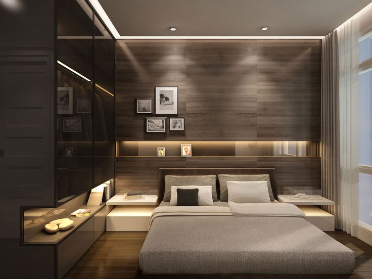 un dormitor in care s a optat pentru un decor modern in care culorile inchise primeaza - Modern Bedroom Interior Design