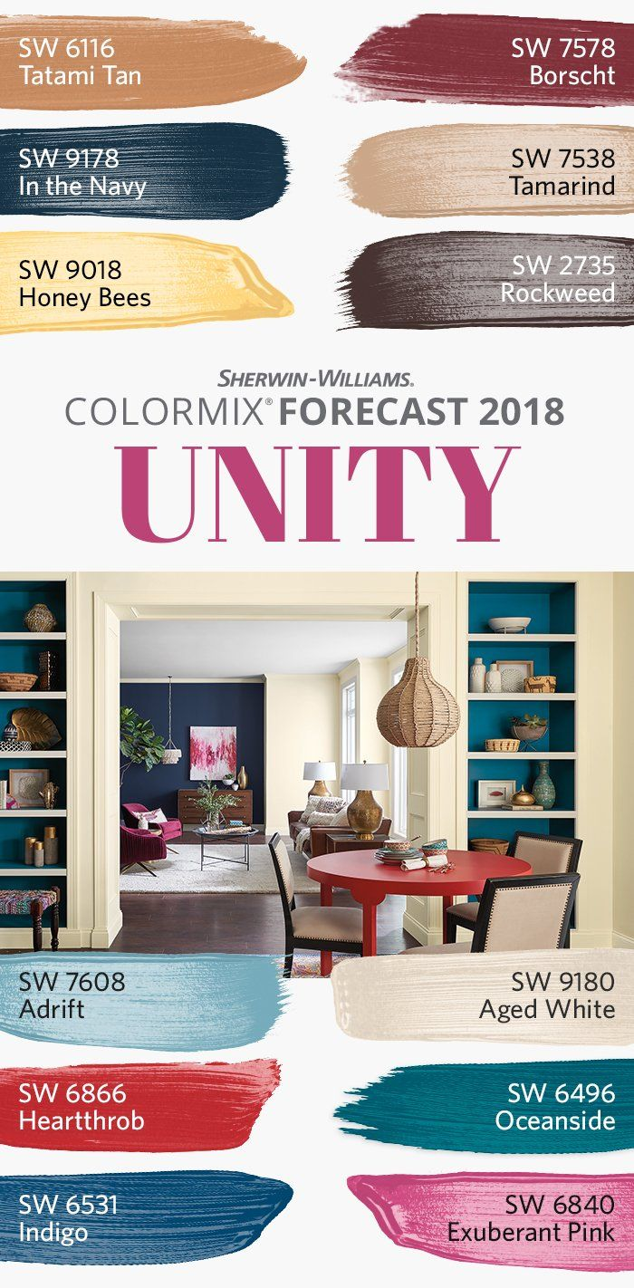 One of three palettes in our Colormix Forecast 2018, the bright folklore of Unity is told in memorable pops of peacock color: Honey Bees SW 9018, Heartthrob SW 6866, Exuberant Pink SW 6840 and others lead the charge, with hues like Tatami Tan SW 6116, Adrift SW 7608 and Aged White SW 9180 providing the perfect foil. Here, nationalism and globalism are in flux, remapping our sense of community and crave for adventure, resulting in a culture of everyday nomadism.