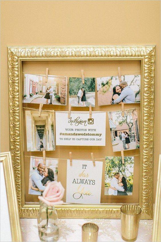 instagram sign wedding photo display ideas / http://www.deerpearlflowers.com/wedding-photo-display-ideas/