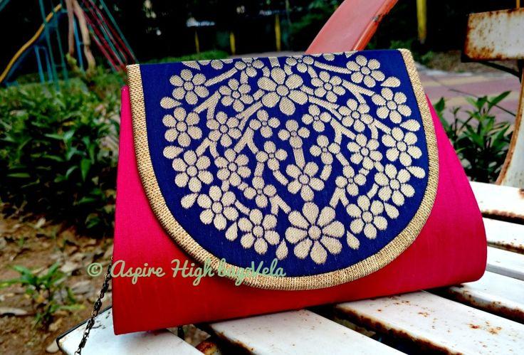 bagzVela Blue & Pink Medium Size Traditional Sling Bag