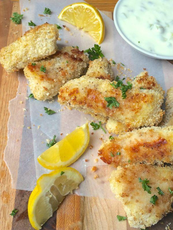 Crispy Baked Fish Sticks with Lemon Pepper Panko
