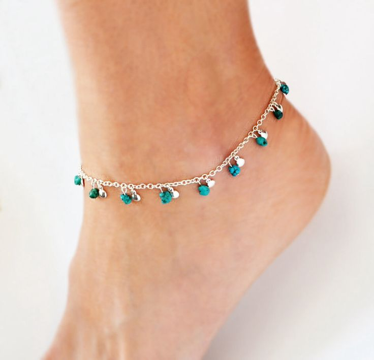 Anklet Silver Ankle Bracelet Turquoise Jewelry Delicate Jewelry Silver Boho Anklet Bohemian Jewelry Hipster Beach Summer Bocade Jewelry by BoCadeJewelry on Etsy https://www.etsy.com/listing/180675185/anklet-silver-ankle-bracelet-turquoise