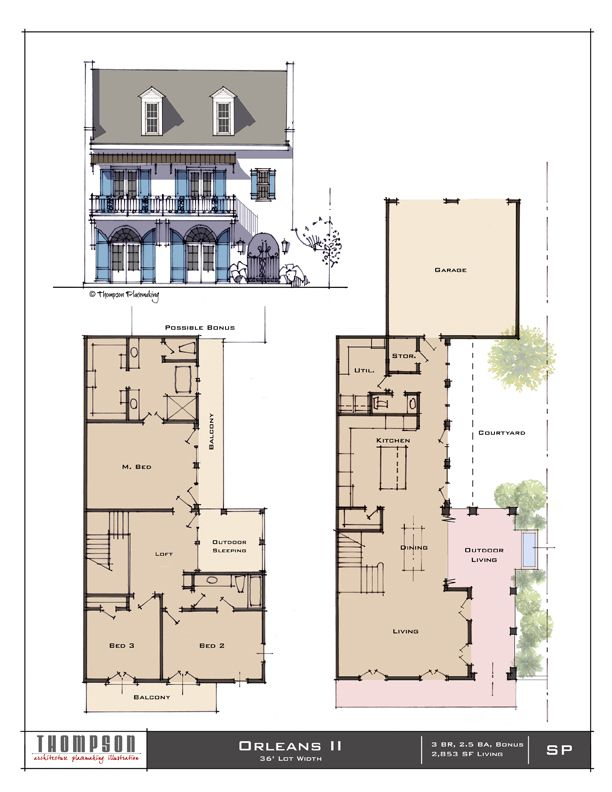 Orleans Ii Sheet 72 2 Orig Jpg 612 792 Sims House Plans House Blueprints Narrow House Designs