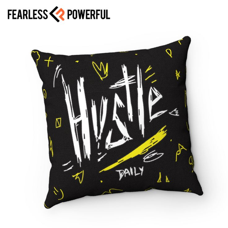 Hustle - Pillow : This design was created to be a reminder of your full potential, to keep you on the grind, to kick you in the butt when you need it, and sometimes just get your day started right. It will be there when you need it most.