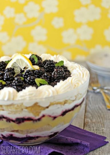 Lemon Blackberry Trifle - with fresh blackberries, lemon curd, and pound cake. So light and springy!   From SugarHero.com