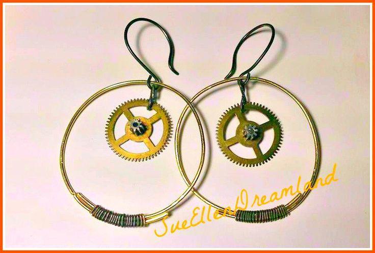 Steampunk earrings-rings by SueEllenDreamland on Etsy