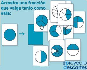 PROYECTO CANALS. Equivalencia de fracciones. Visualizar las fracciones y reconocer su verdadero significado al emparejarlas por su valor, no comparando su número escrito, sino a partir de las representaciones gráficas. Ir consolidando la noción de fracción.