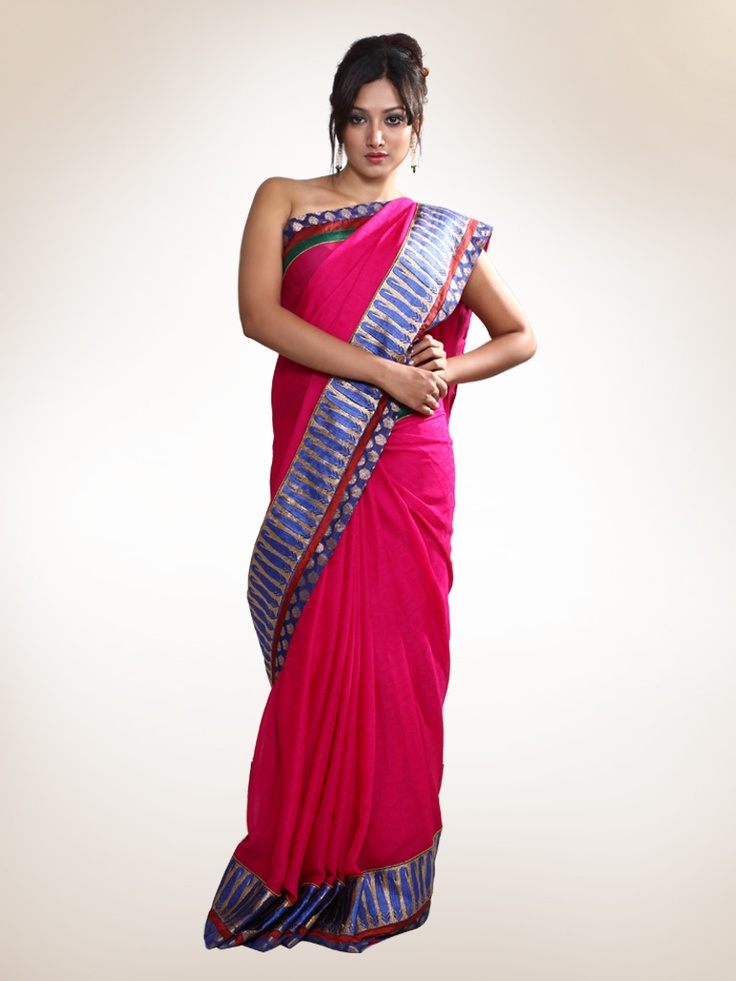 Fuschia Sari with Border