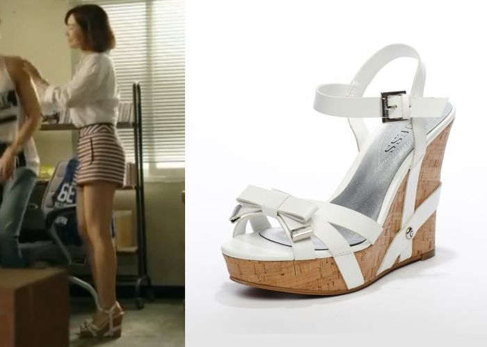 "Jin Se Yeon in ""Doctor Stranger"" Episode 9.  Guess White Wedge Sandals  #Kdrama…"