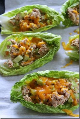 Tuna Melt Boats- 10 oz canned white albacore tuna 2 T mayonnaise 1 T spicy mustard 2 sticks celery, chopped finely 1 small pickle, chopped finely 1 T pickle juice salt and pepper 5 romaine lettuce leaves 1/2 C cheddar cheese Combine everything but the romaine lettuce and cheddar cheese. Then divide the tuna equally between the five lettuce leaves and broil for a couple of minutes until the cheese is melted.