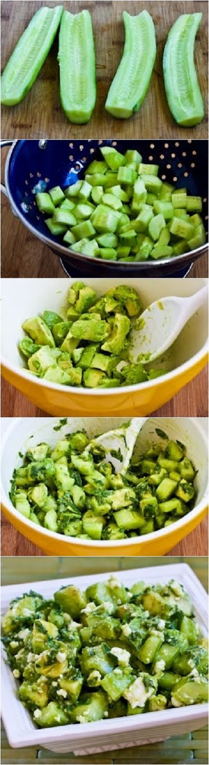 Cucumber and Avocado Salad Recipe with Lime Mint and Feta - Dinner Party Menu Photo Sites