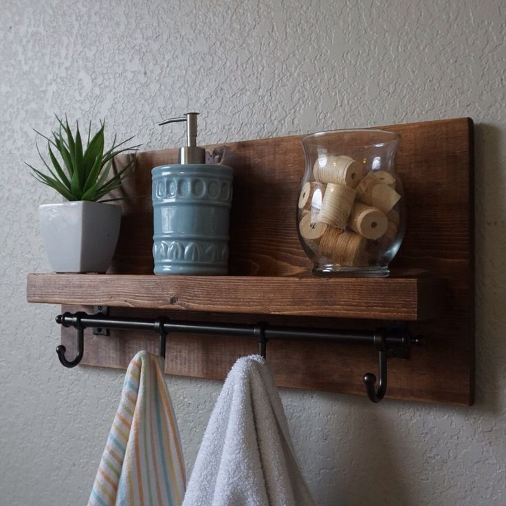 simply modern rustic bathroom shelf with dark bronze rail towel hooks by keodecor on etsy https