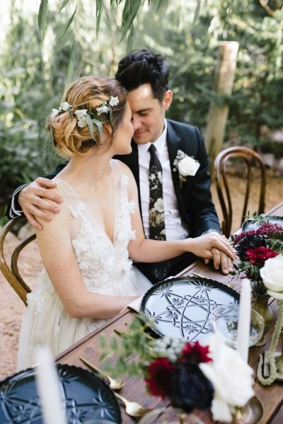 Romantic Outdoor Winery Ideas With Marsala - Polka Dot Bride - Secret Garden Wedding with Black Crystal Plates and Flower Crown
