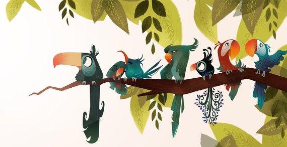 Bird Branch Mini Print by britsketch on Etsy