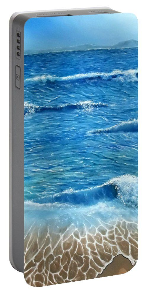 Portable Battery Charger,  blue,cool,beautiful,fancy,unique,trendy,artistic,awesome,fahionable,unusual,accessories,for,sale,design,items,products,gifts,presents,ideas,coastal,waves,sea