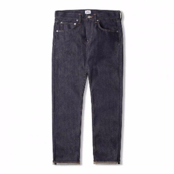 ED-55, Regular Tapered, 63 Rainbow Selvedge Unwashed Jeans (10.895 RUB) ❤ liked on Polyvore featuring men's fashion, men's clothing, men's jeans, mens slim fit tapered jeans, mens tapered leg jeans, mens button fly jeans and mens tapered jeans