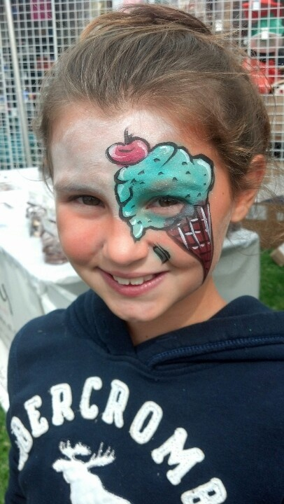 Face painting of an ice cream cone