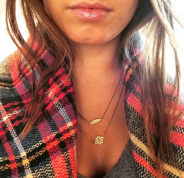 Love this plaid scarf and ALEX AND ANI #Providence Collection necklaces!