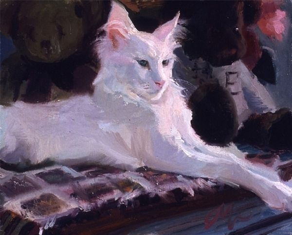 C.M. Cooper cats are painted in broad strokes and she captures the animals in typical cat behaviors. The bond between women and cats is also seen in her...