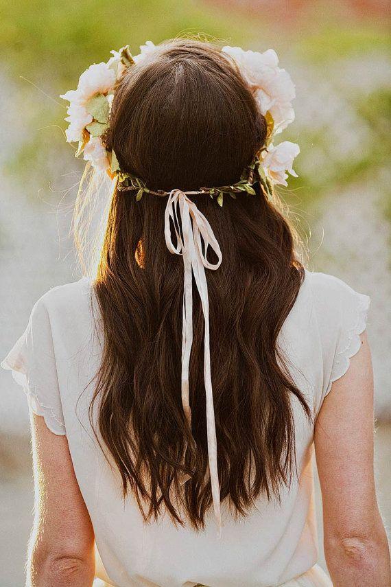 Blush silk blossoms hair wreath style 514 by mignonnehandmade on Etsy
