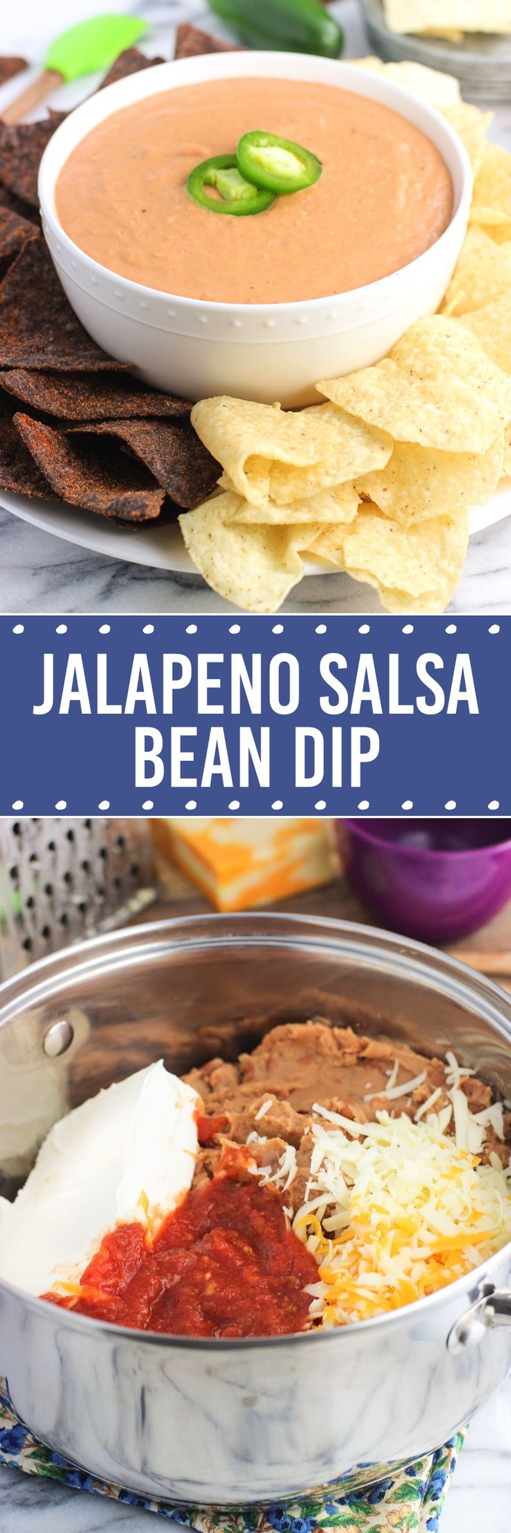 A big bowl of this jalapeno salsa bean dip is just what your next get-together needs! This dip has easy prep and you can customize the spice level by switching up the salsa variety. Warm, creamy, and delicious.