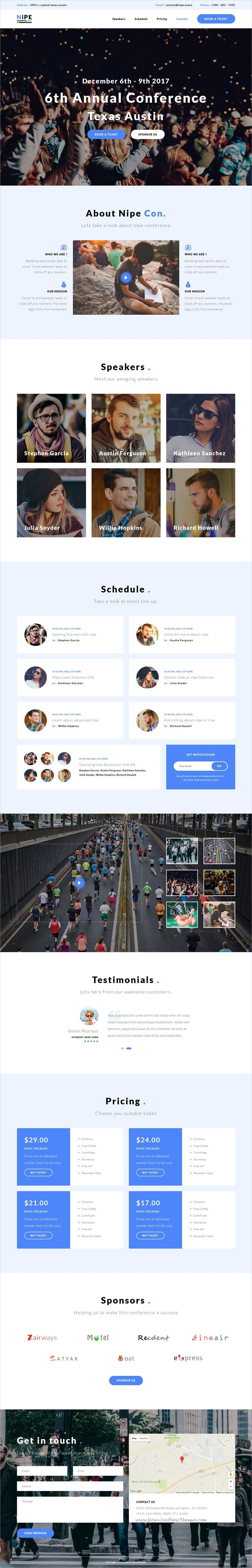 Nipe is clean & modern design responsive #bootstrap template for #conference & #events landing page website with 7 unique homepage layouts & 60+ design blocks download now..