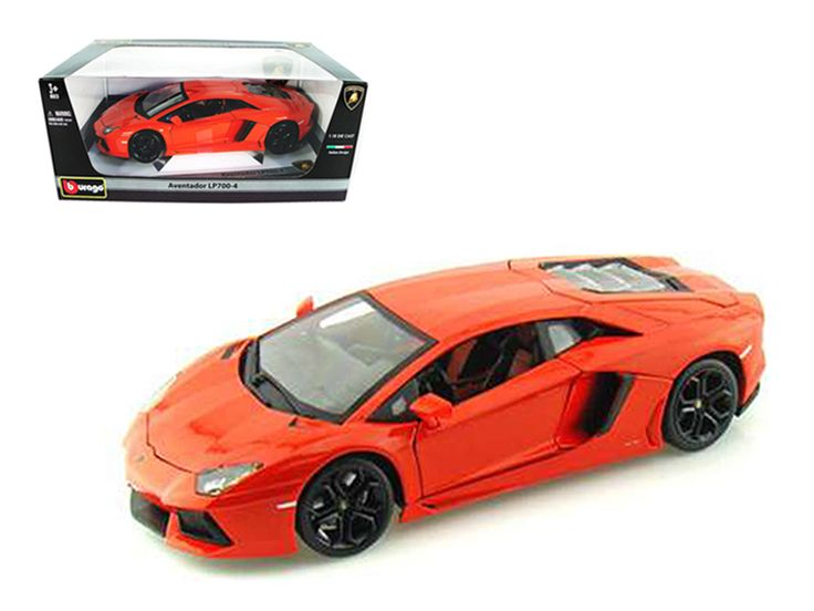 2012 Lamborghini Aventador LP700-4 Orange 1/18 Diecast Model Car by Bburago - Brand new 1:18 scale diecast model car of 2012 Lamborghini Aventador LP700-4 Orange die cast model car by Bburago. Brand new box. Rubber tires. Has opening hood, doors and trunk. Made of diecast with some plastic parts. Detailed interior, exterior, engine compartment. Dimensions approximately L-10, W-4, H-3.5 inches. Please note that manufacturer may change packing box at anytime. Product will stay exactly the…