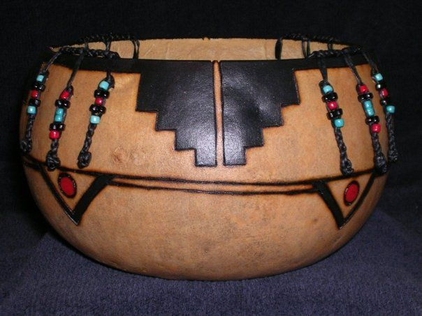 American Indian design on Gourd..  Indian art is my favorite of all.
