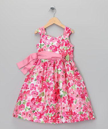 Look at this #zulilyfind! Pink Blossom Sash Dress - Toddler & Girls #zulilyfinds