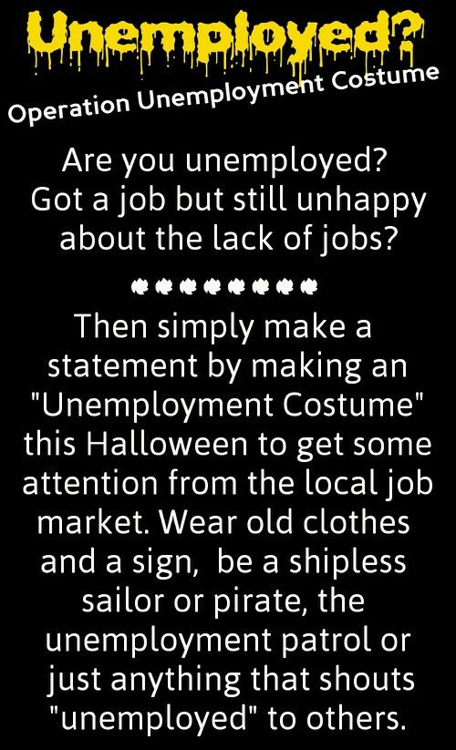 operation unemployment costume a collection of ideas to