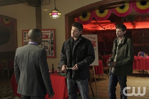 """Season 7, Time for a Wedding!"" - (L-R): Leslie Odom, Jr. as Guy, Jensen Ackles as Dean, and DJ Qualls as Garth in SUPERNATURAL on The CW.  Photo: Michael Courtney/The CW©2011 The CW Network, LLC. All Rights Reserved."