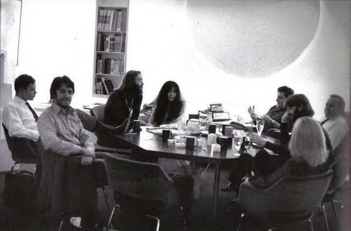 John Eastman (Linda's brother), Paul McCartney, John Lennon, Yoko Ono-Lennon, Allen Klein, Richard Starkey, Maureen Cox-Starkey, and Peter Howard (photo by- Linda Eastman-McCartney)