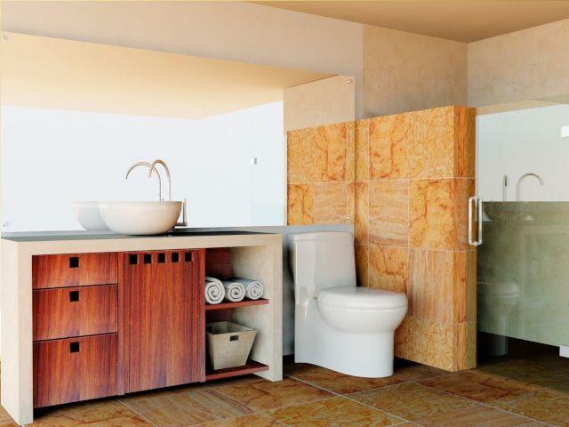 Baño residencial, acabados en marmol