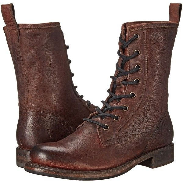 Frye Jenna Combat Women's Boots, Brown ($210) ❤ liked on Polyvore featuring shoes, boots, brown, platform combat boots, army combat boots, lace up boots, leather boots and army boots
