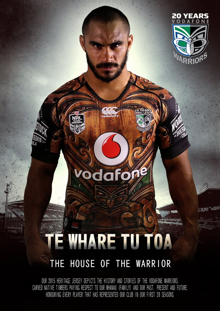 Te Whare Tu Toa heritage jersey. The Maori name translates as 'The House of the Warrior'. #Maori #WoodCarving #WarriorsForever #NRL #Heritage #NewZealand #Merchandise