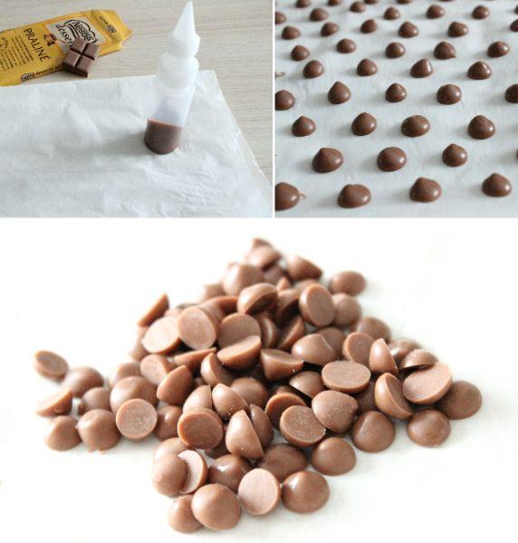 astuce pour faire soi-même les pépites de chocolat pour nos petits cookies et autres gourmandises !