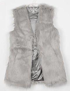 kadın taklit kürk yelek jile orta uzun paltoları