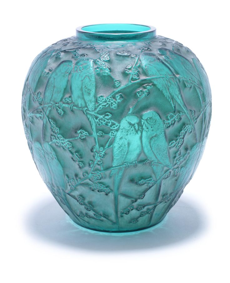 René Lalique 'Perruches' a Vase, design 1919 green glass, frosted and polished, heightened with white staining 25cm high