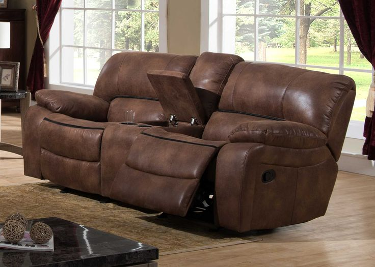 Transitional Glider Reclining Loveseat w/ Storage Console
