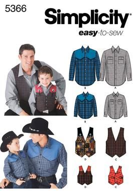 Boys and Men Shirts and Vests Sewing Pattern 5366 Simplicity