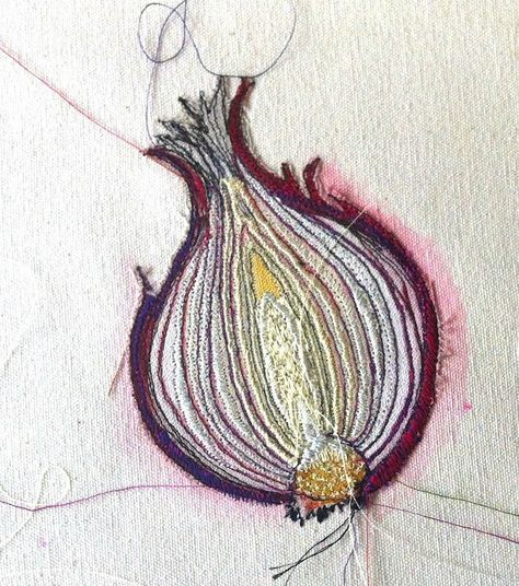 """Louise Gardiner. """"My artwork is a contemporary fusion of drawing, painting, applique and intricate free machine embroidery, techniques I have developed since graduating from Goldsmith's College, London University 18 years ago."""""""