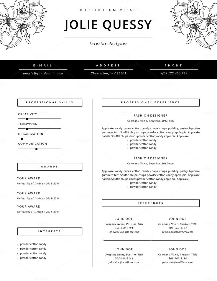 fashion resume template cv