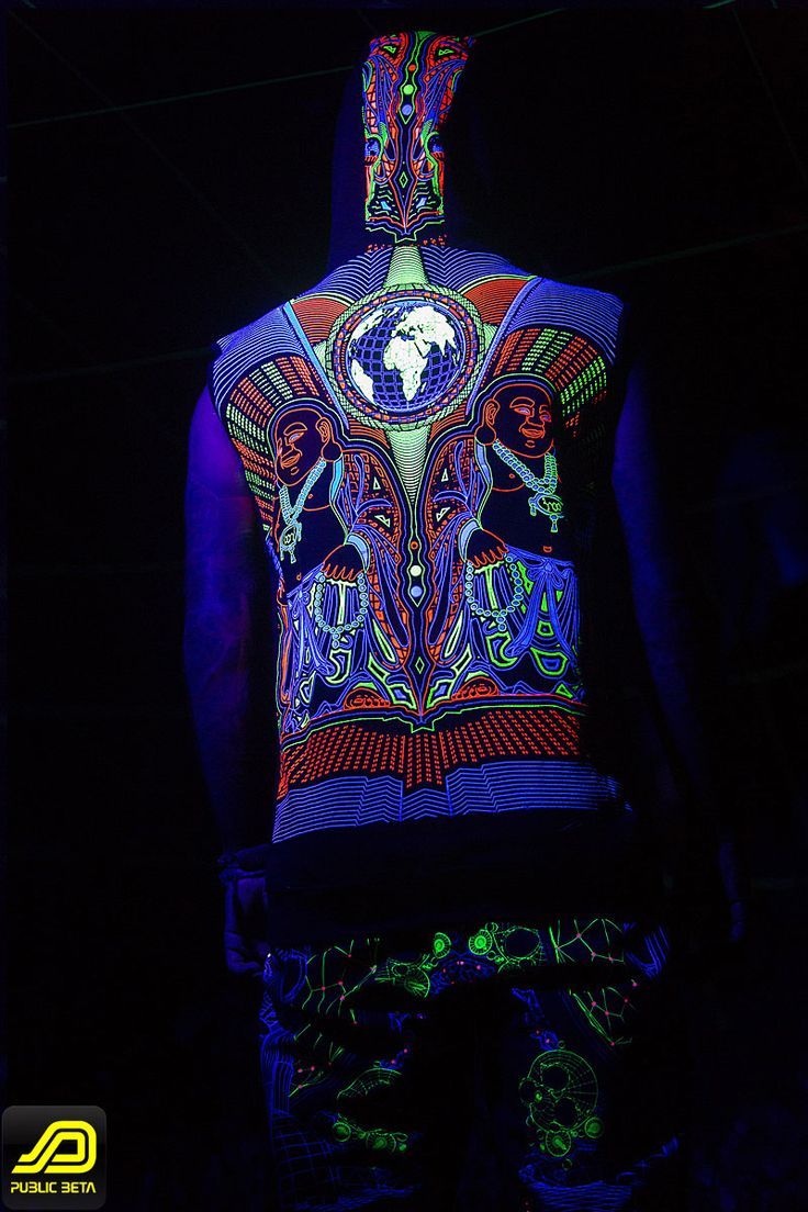 Earth Protector UV Vest with Colony Boardshorts by Public Beta Wear www.publicbetawear.com Blacklight reactive psychedelic visions printed on clothing. 3D designs. Psychoactive wear. Model: @freakgarcia, Photo by Murilo Ganesh @muriloganesh #publicbetawear #blacklightclothing #psychedelic #ozorafestival #shopbitcoin #festivalfashion #boomfestival