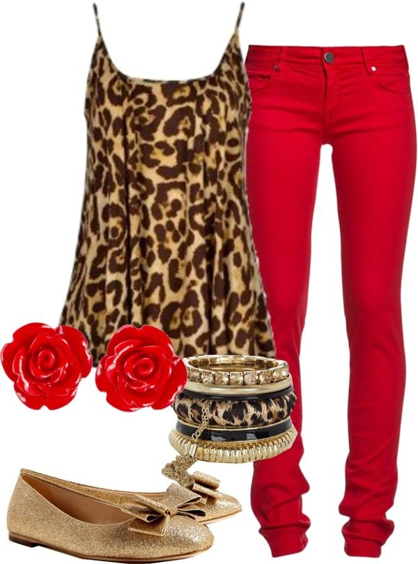 Red and Leopard- not sure that I could pull this off - but it sure is cute together! :)