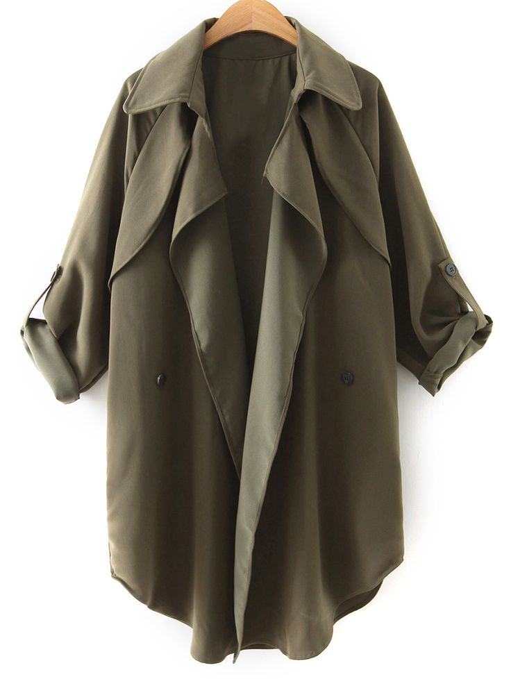 Buttoned Waterfall Trench Coat - ARMY GREEN M